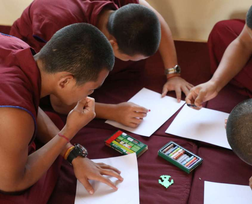 Monks after Pneuma Breathwork in Gaden Shatse Monastery