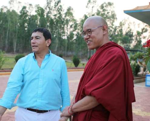 Juan Ruiz Naupari with Khen Rinpoche Geshe Jangchup Choeden