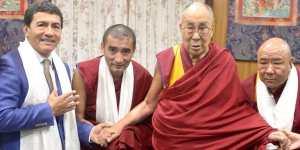 Juan Ruiz with His Holiness the 14th Dalai Lama and the Gaden Shartse and the Abbots of Gaden Jangtse Monastery