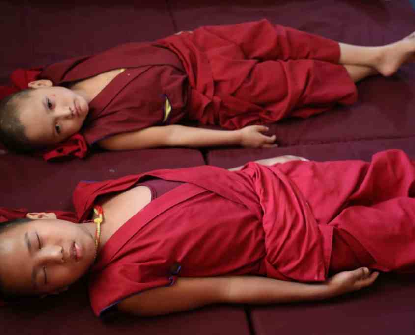 Monks doing Pneuma Breathwork in Gaden Shartse