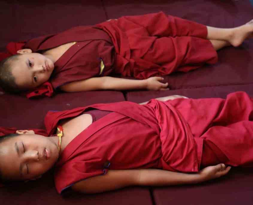 Monks doing Pneuma Breathwork in Gaden Shartse