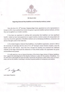 Letter from Lama Jigme Rinpoche, March 2012