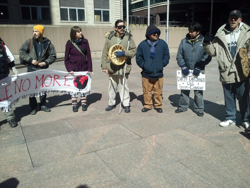 Gathering for Idle No More round dance outside Canadian Pacific Railroad office, Minneapolis, 2013