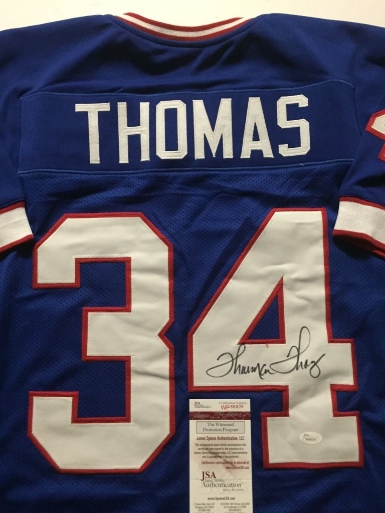 brand new dd4fb 43283 THURMAN THOMAS Autographed Buffalo Bills Blue Football Jersey JSA  certificate of authenticity