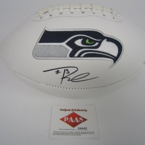 Russell Wilson Seattle Seahawks Signed Autographed logo football