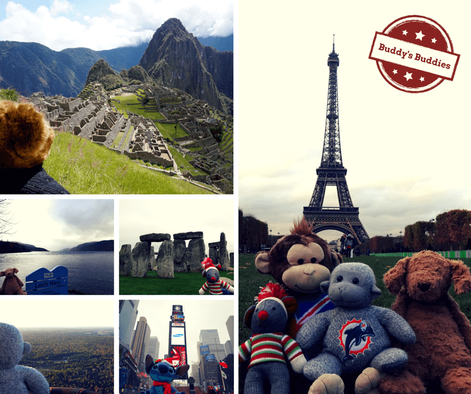 Buddy the Traveling Monkey takes photos with children's stuffed animals all over the world