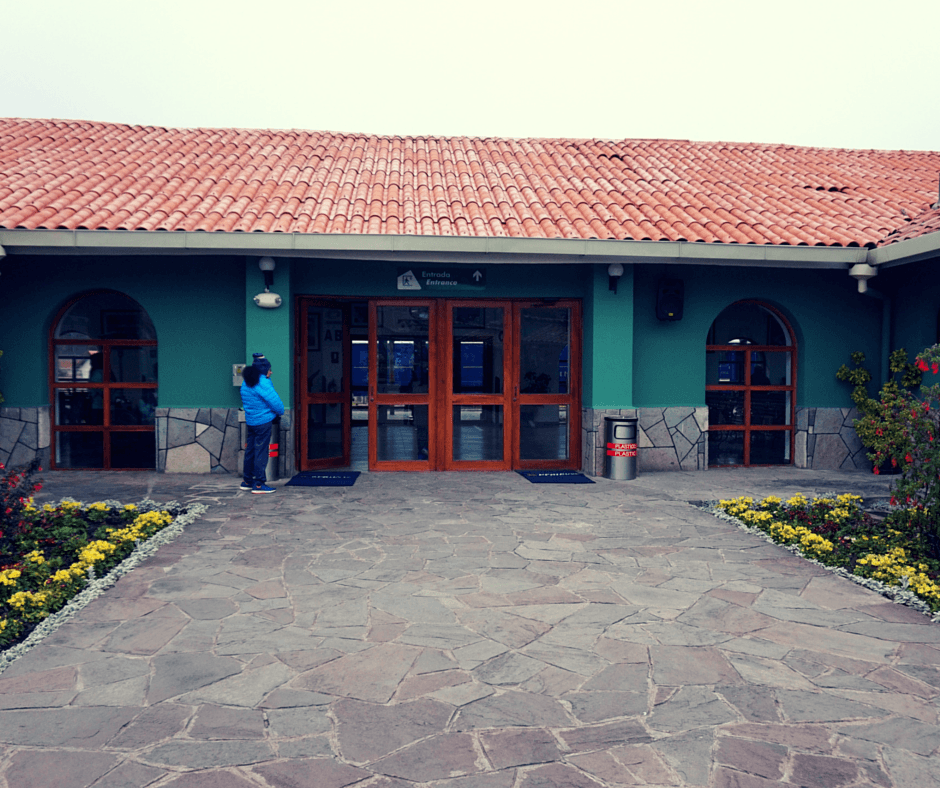 Front doors of the Poroy train station in Cusco