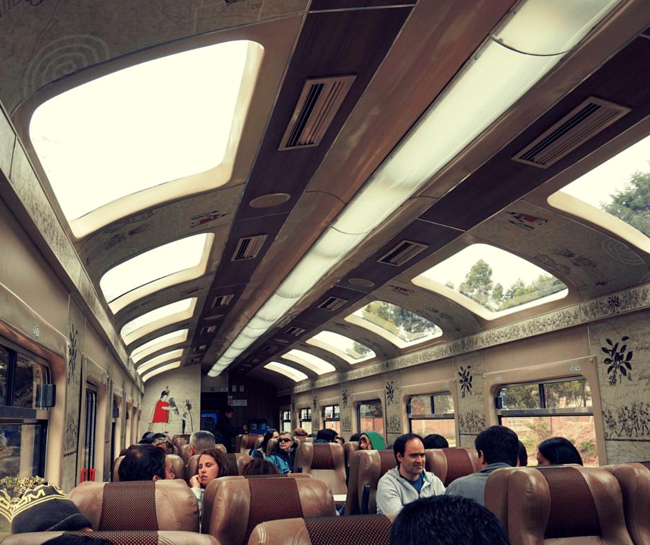 Inside the train heading to Machu Picchu