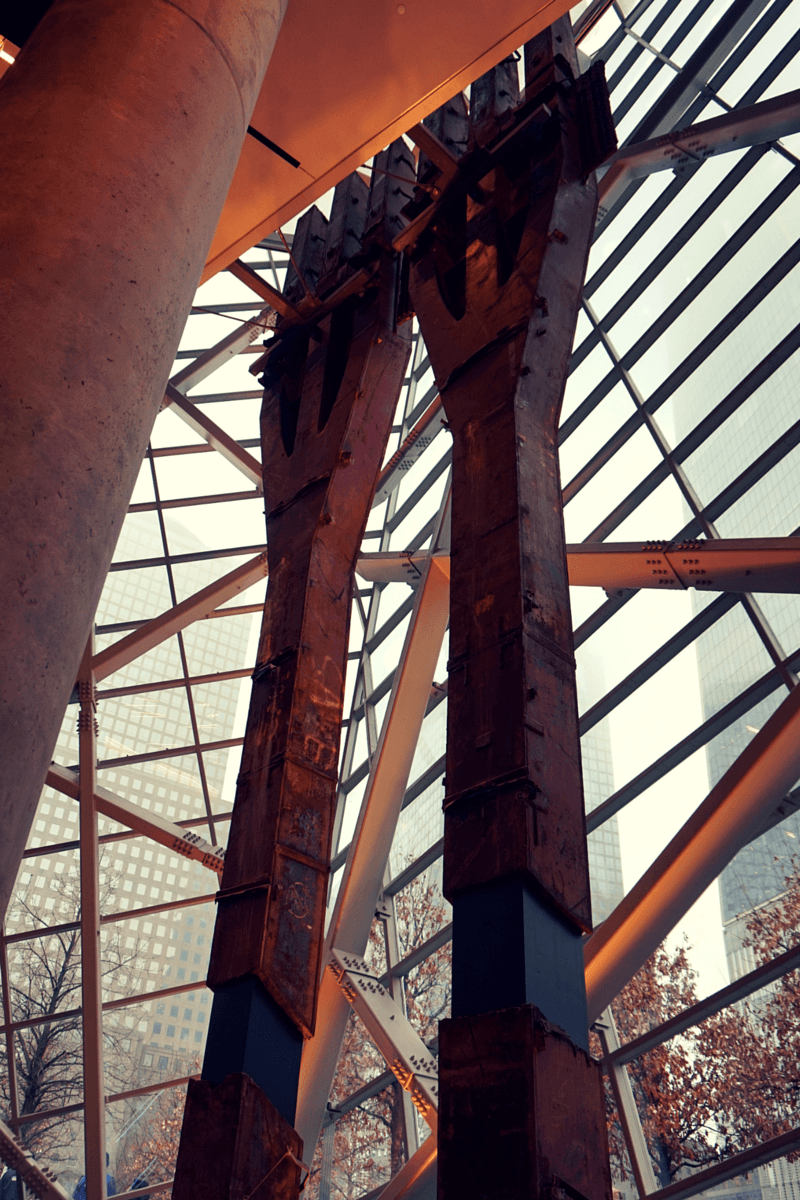 The iconic trident beams that supported the south tower. They never faltered during the attack.