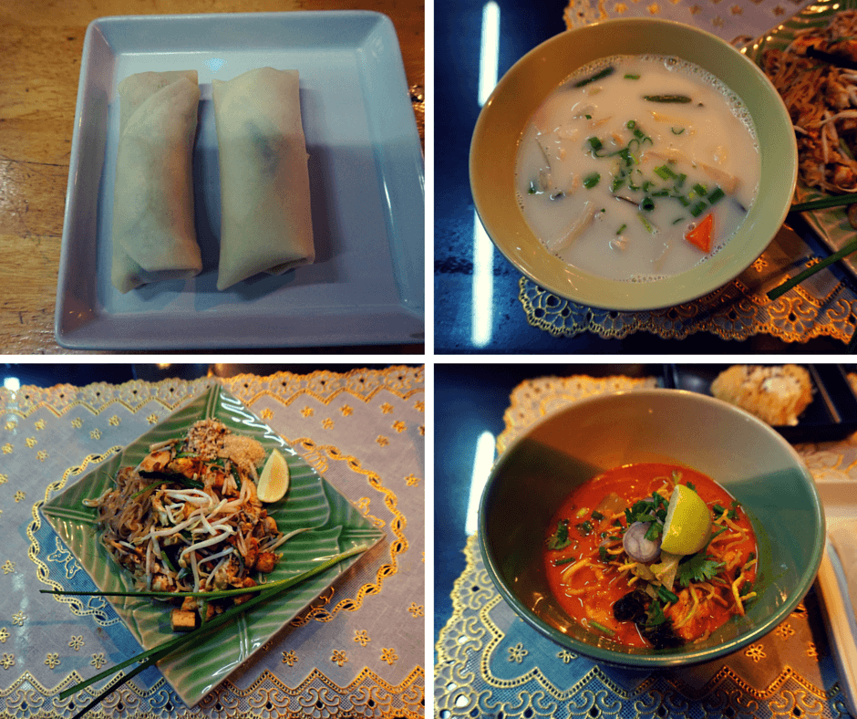 Spring rolls, coconut milk soup, pad thai, and khao soy curry noodles