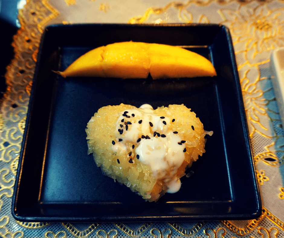 Sticky rice with mango that Anne prepared
