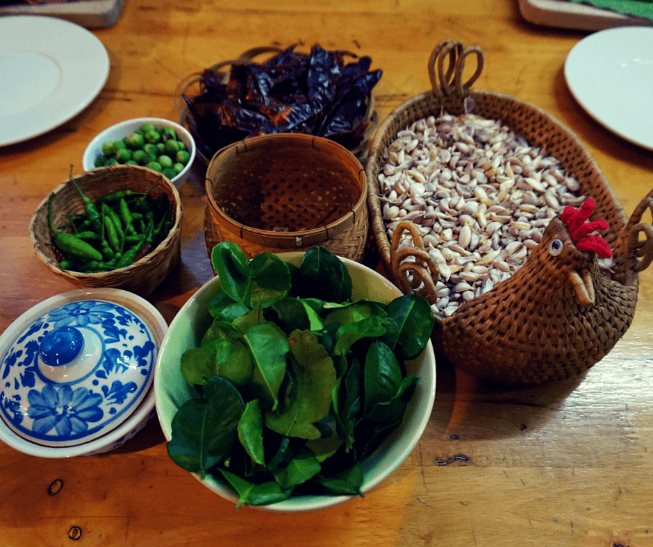 The ingredients for our Thai cooking class