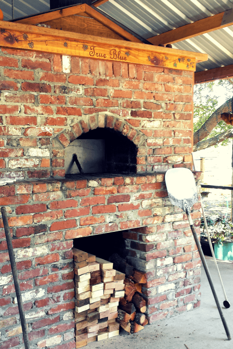 brick oven for pizza at True Blue Winery