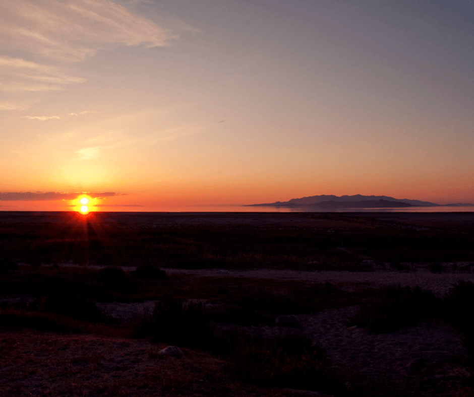sunset at Antelope Island State Park