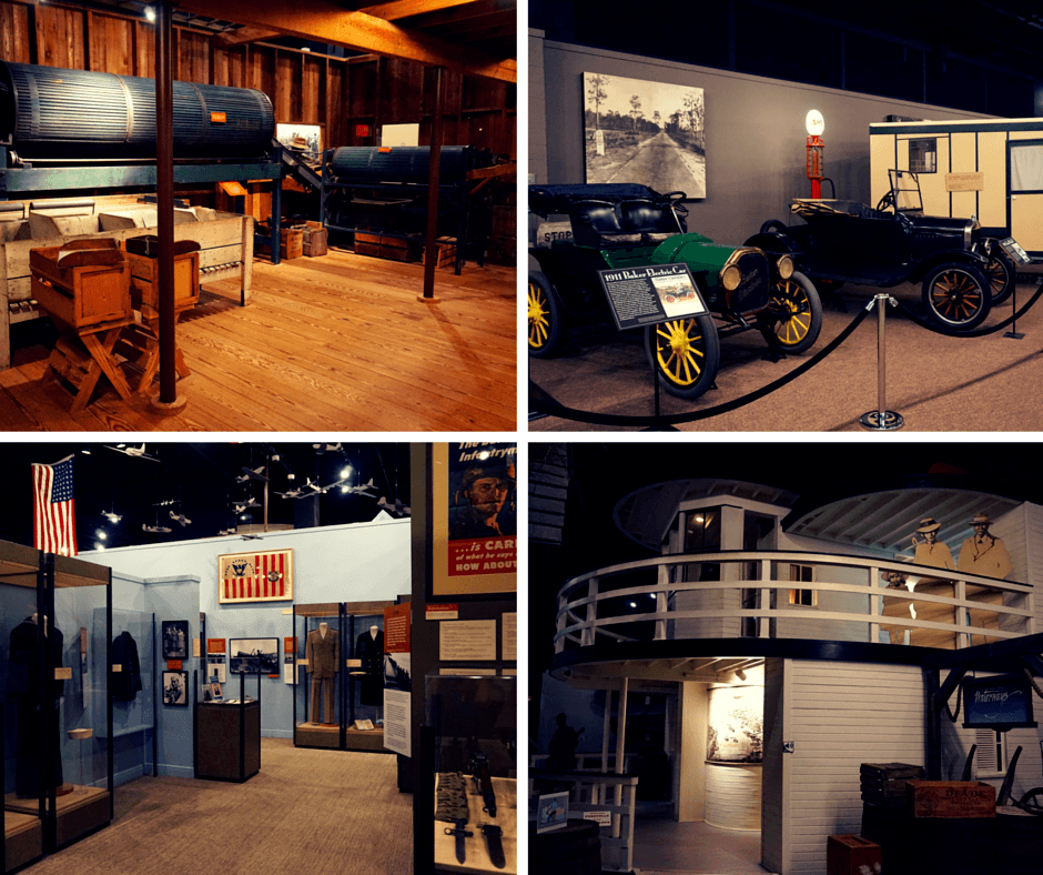"A reconstruction of a typical citrus packing house (because... oranges), old school cars typically seen in Florida, the ""Florida Remembers World War II"" exhibit, and an early 1900s riverboat. Museum Of Florida History"