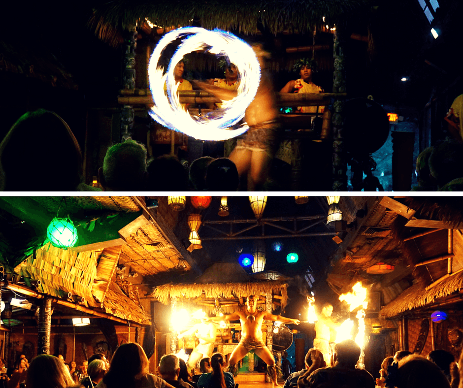 fire dancing at Mai-Kai Restaurant