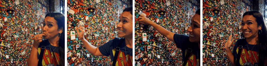 putting gum on seattle gum wall