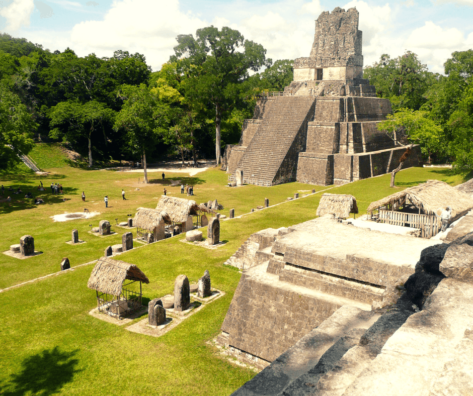 View of Mayan ruins in Tikal Guatemala