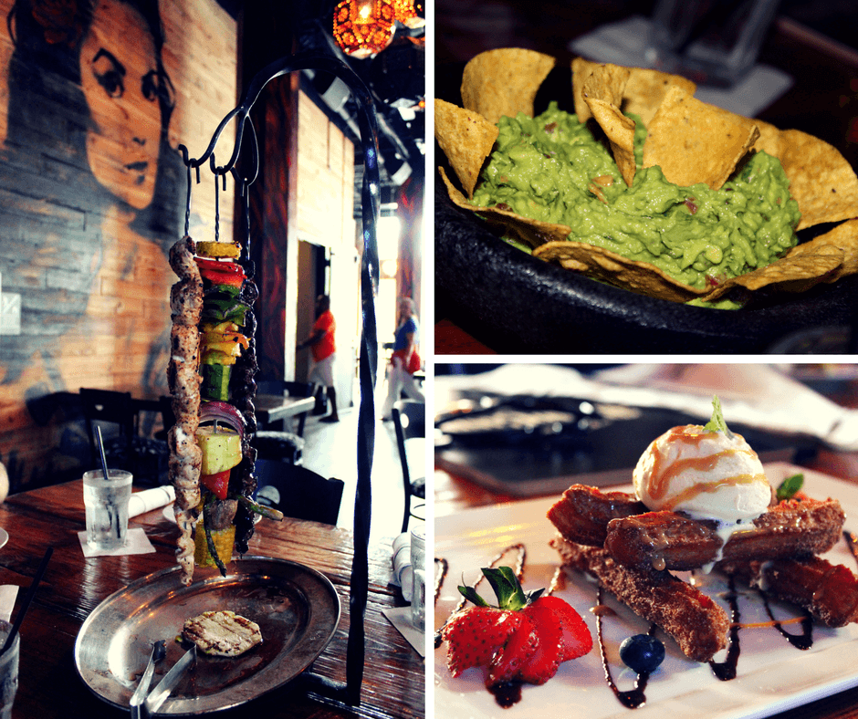 mesquite grilled skewers, nachos with guacamole and salsa, and churros for desserts from Banko Cantina