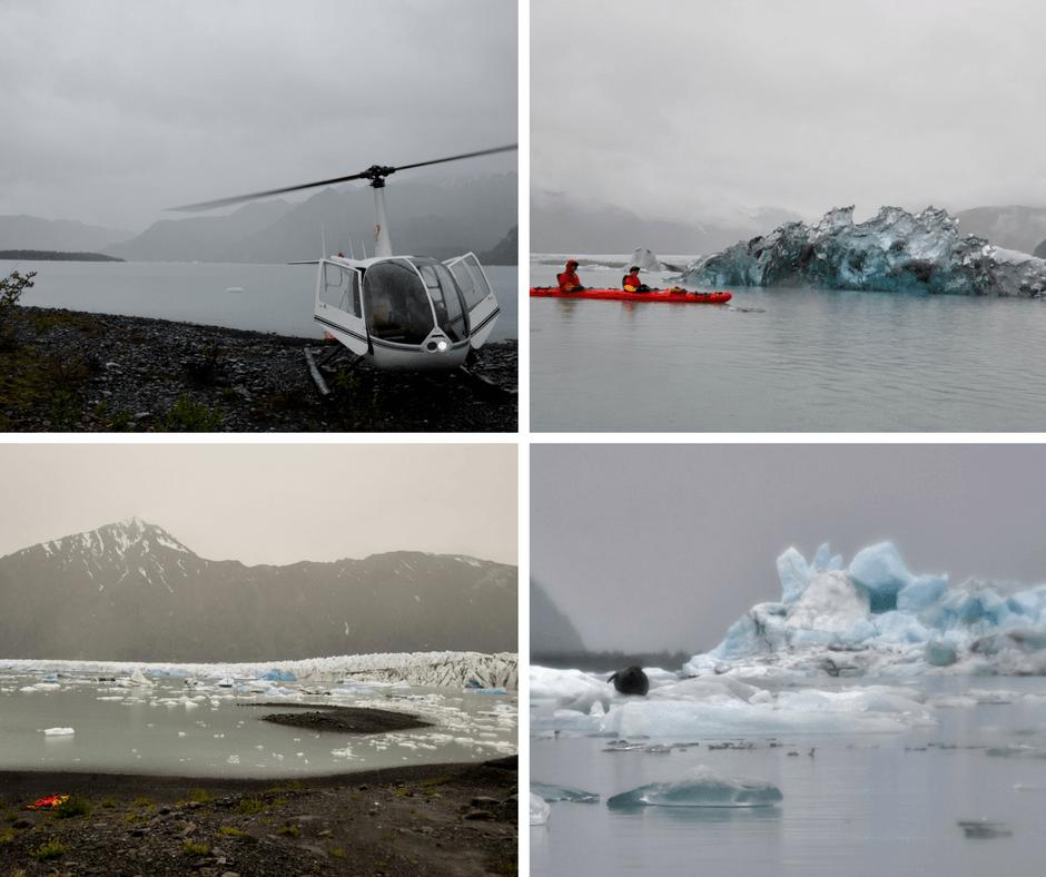 kayaking among icebergs freshly calved from a glacier in Alaska