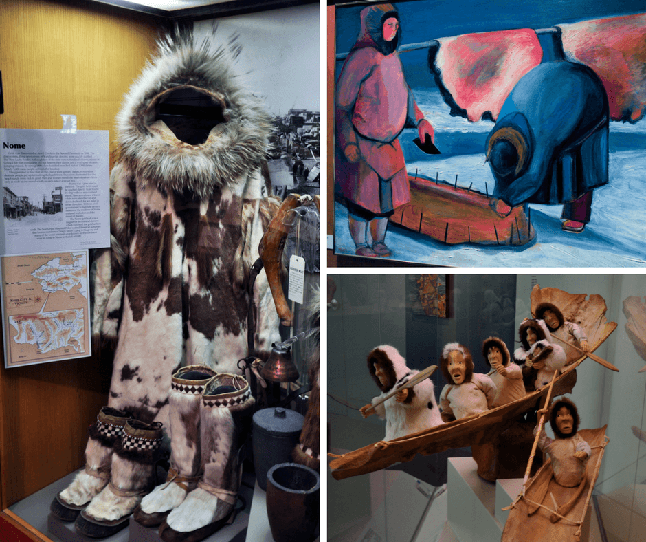 Alaskan artifacts and painting inside the Museum of the North