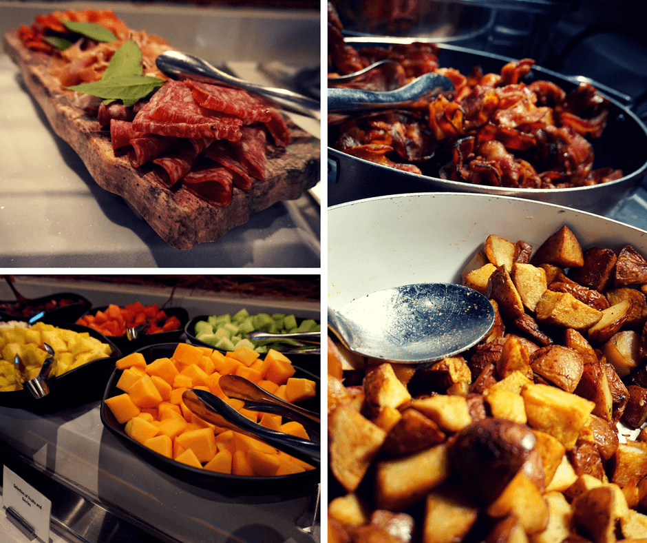 SOCO Kitchen + Bar inside Delta Hotel Toronto has a large breakfast buffet with bacon, potatoes, cheese and fruits.
