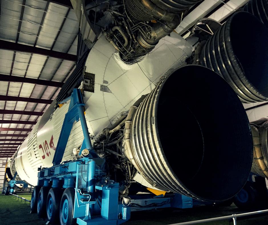 Saturn V rocket inside Space Center Houston