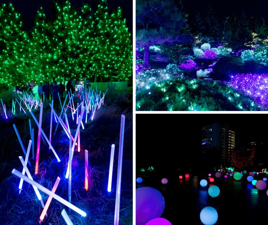 Light sabers, globes, and colorful lights inside the Denver Botanic Gardens