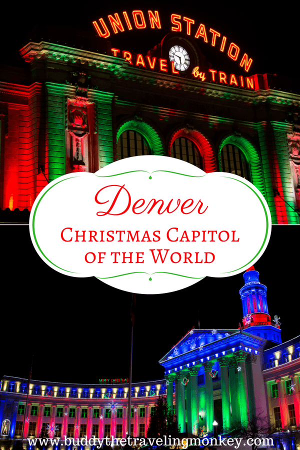 Holiday lights on Union Station, City Hall, Botanic Garden, and Chatfield Farms of Denver