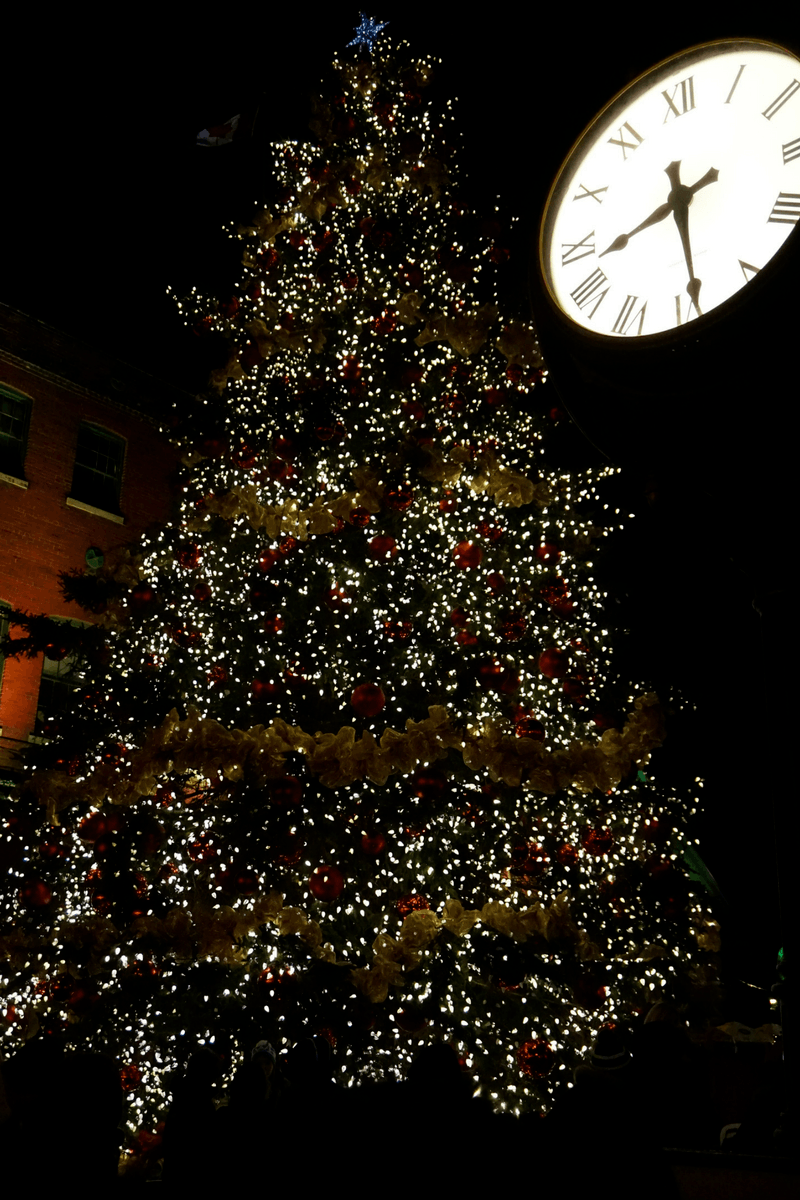 Christmas Market christmas tree and clock at the Distillery District in Toronto