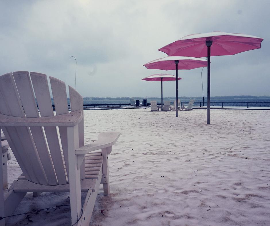 Chairs and umbrellas at Sugar Beach in Toronto