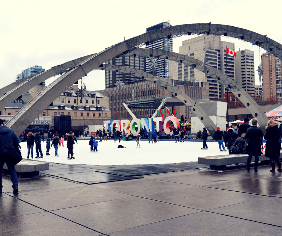 Toronto sign in Nathan Phillips Square in Toronto