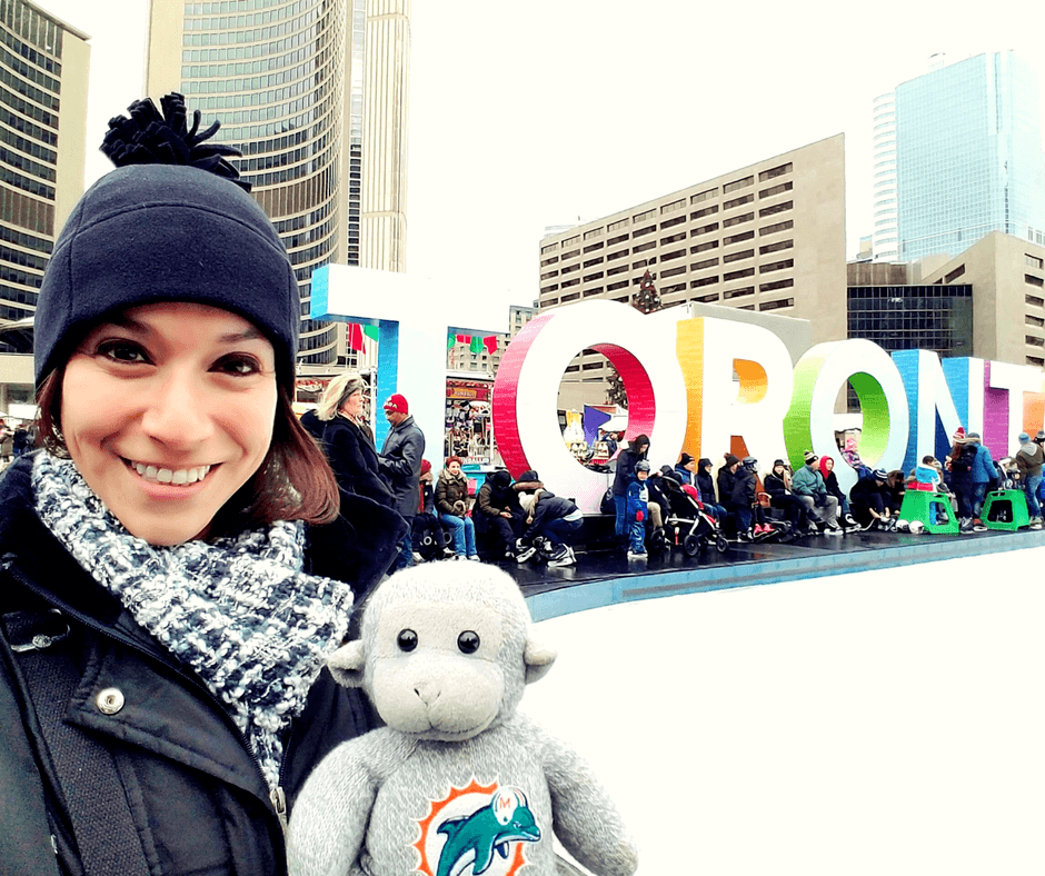 Selfie with Toronto Sign at Nathan Phillips Square