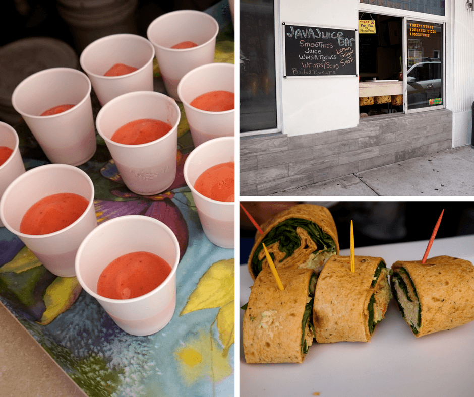 Java Juice Bar, chicken curry wrap, strawberry banana smoothie