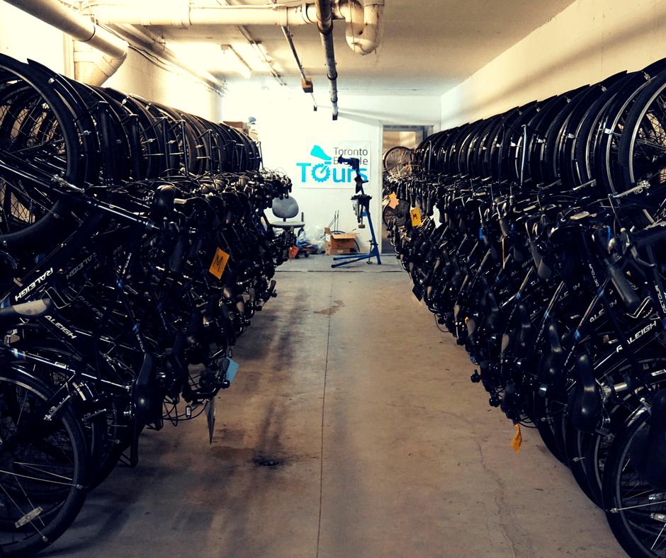 Rows of bikes for Toronto Bicycle Tours