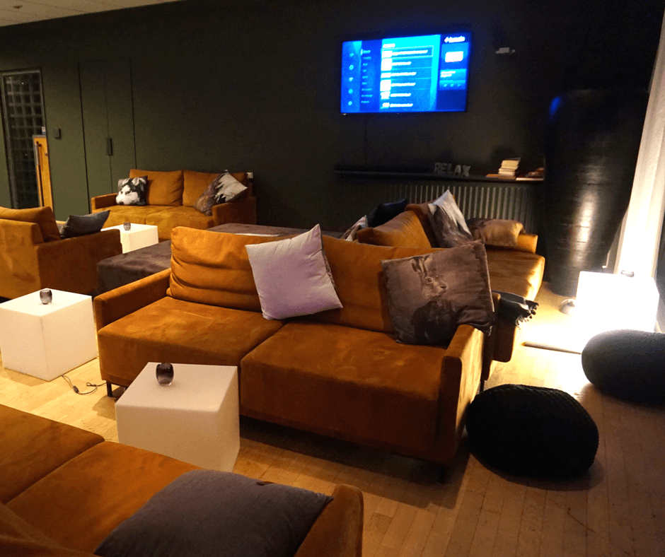 Lounge area of the Galaxy Pod Hostel