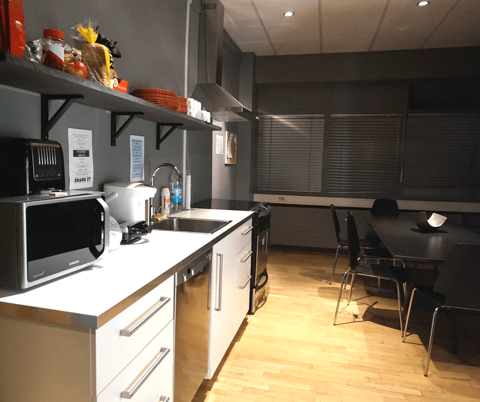 kitchen area of the galaxy pod hostel