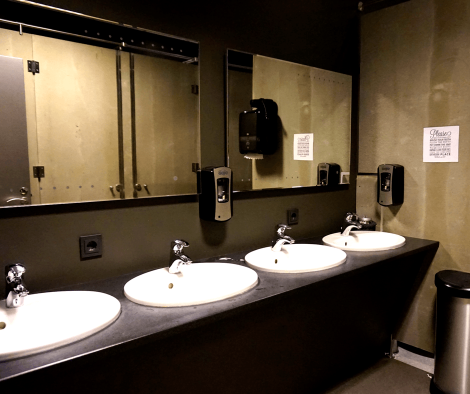 bathroom of the galaxy pod hostel
