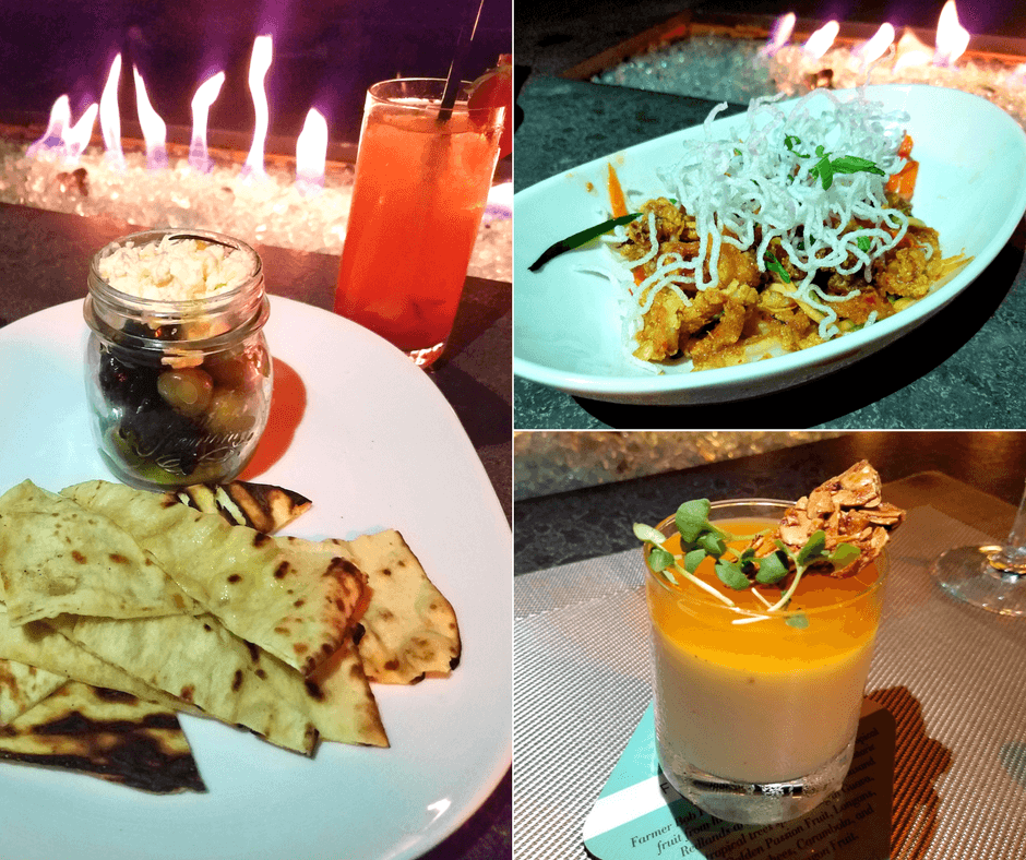 olives, stir fried calamari, and passion fruit panna cotta at Siren's Table
