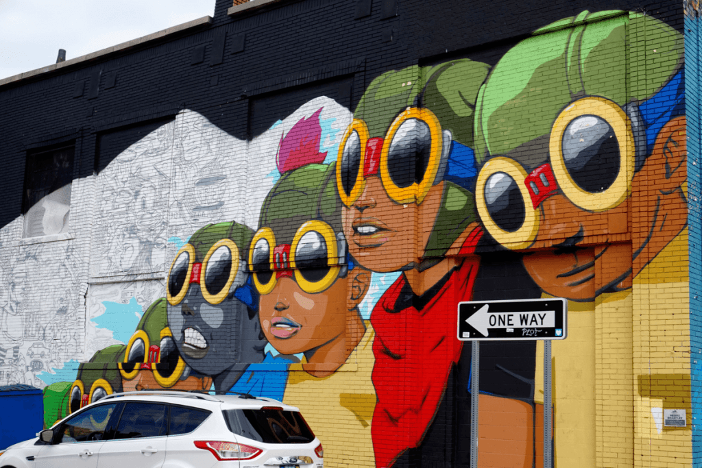 Detroit street art by Hebru Brantley