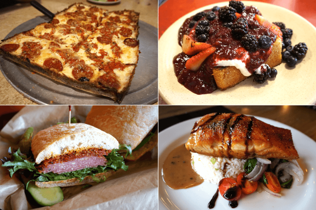 buddy's pizza, breakfast, sandwiches, and salmon dinner in detroit