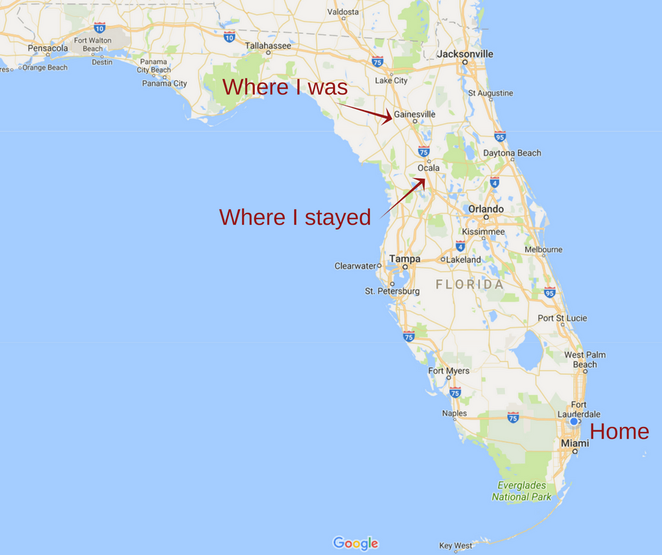 Map of Florida and where I was during Hurricane Irma