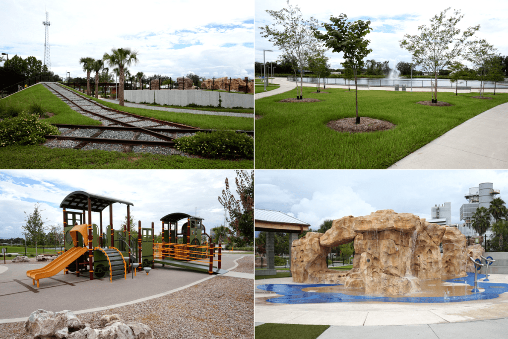 Depot Park promenade, playground, blue grotto