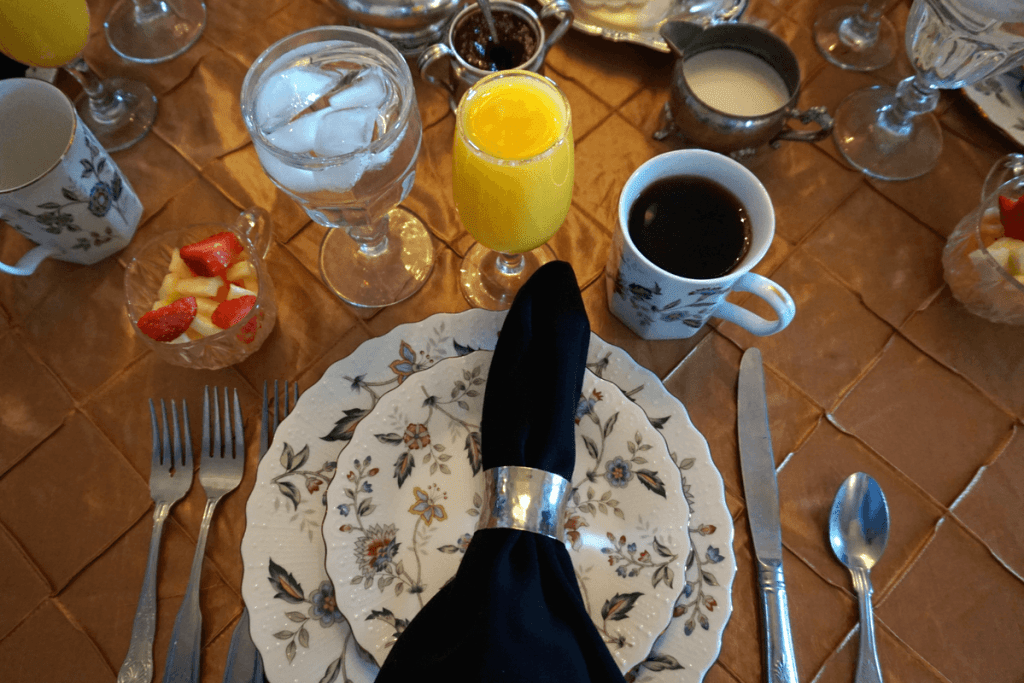 The table was set beautifully every morning for the duff green mansion breakfast