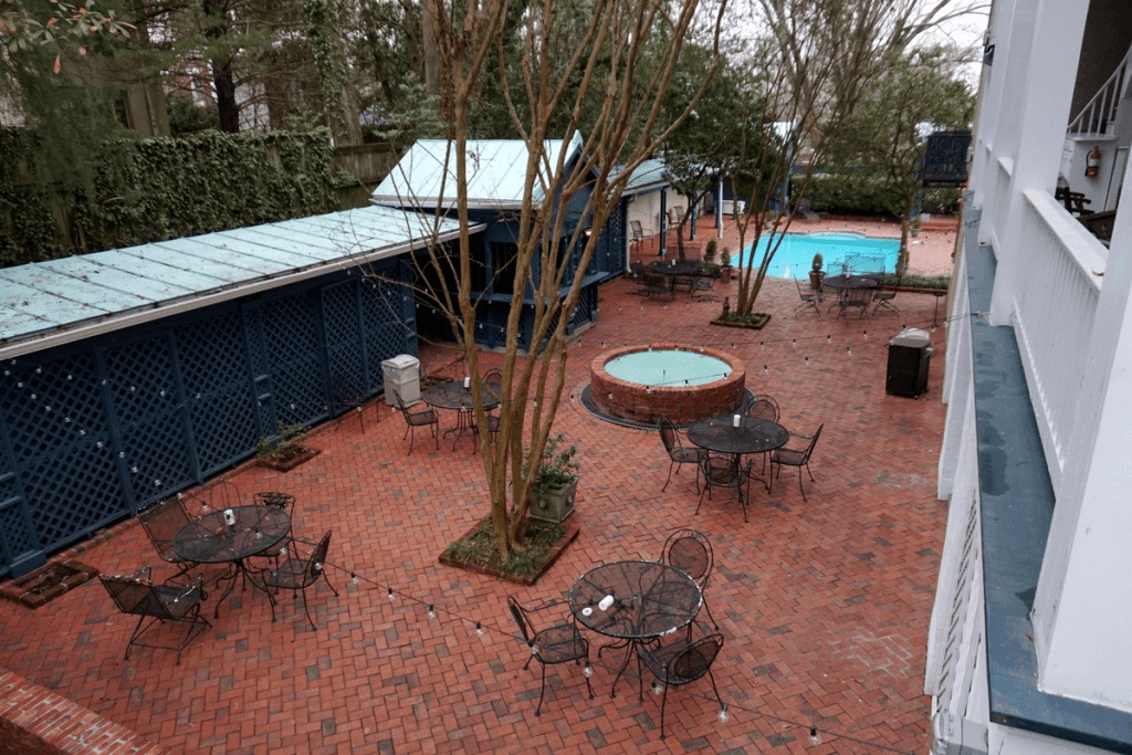 Duff Green Mansion pool and patio area