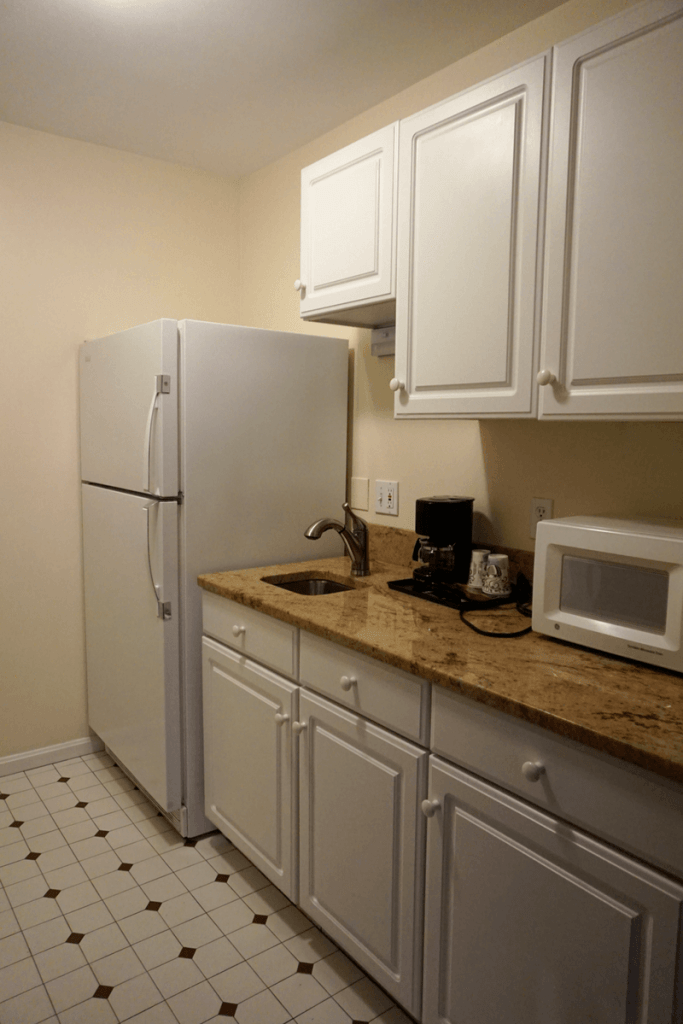 Our kitchen included basic dishware and a coffee maker