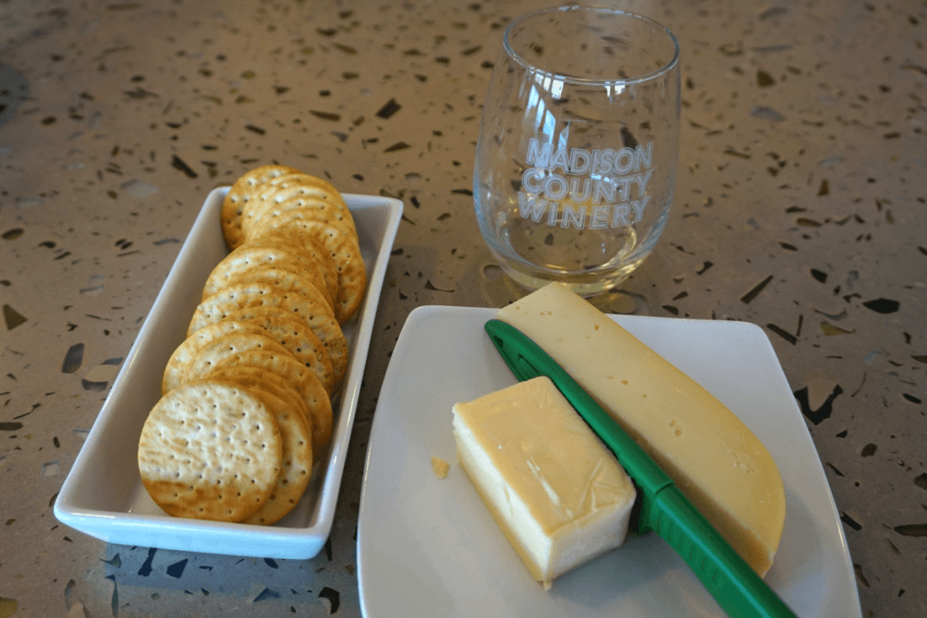 Wine and cheese at Madison County Winery, one of the wineries in central Iowa