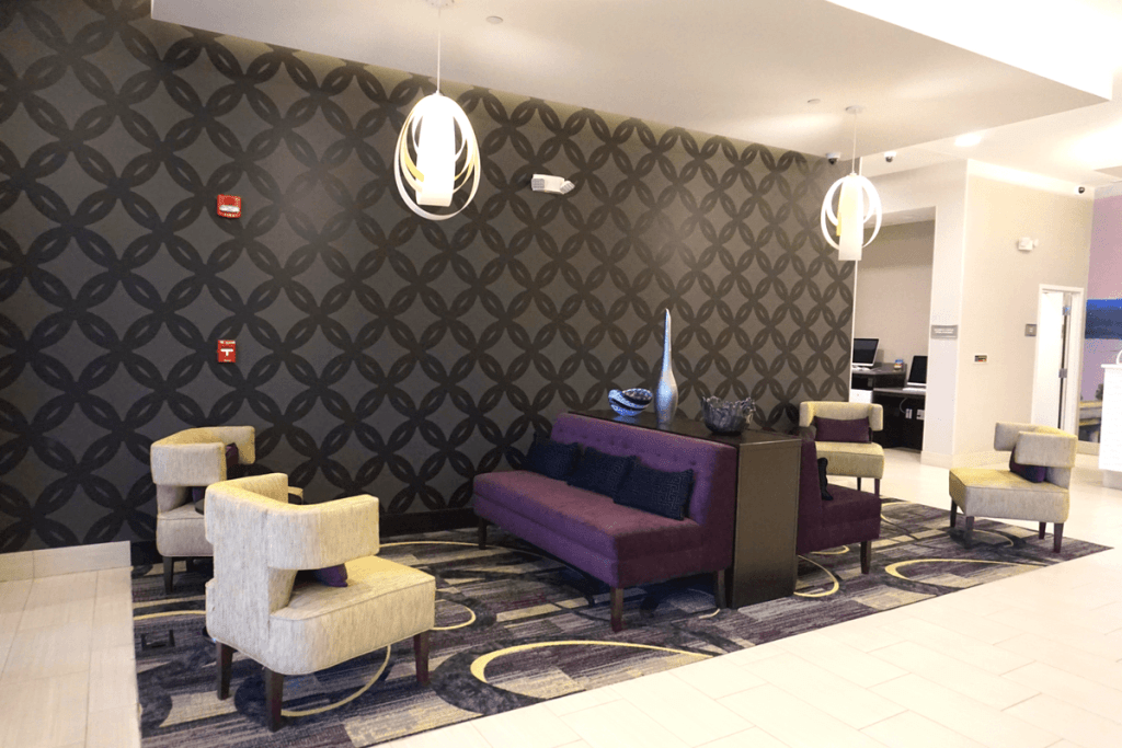 The lobby of the La Quinta Memphis Downtown. one of the best places to stay in Memphis