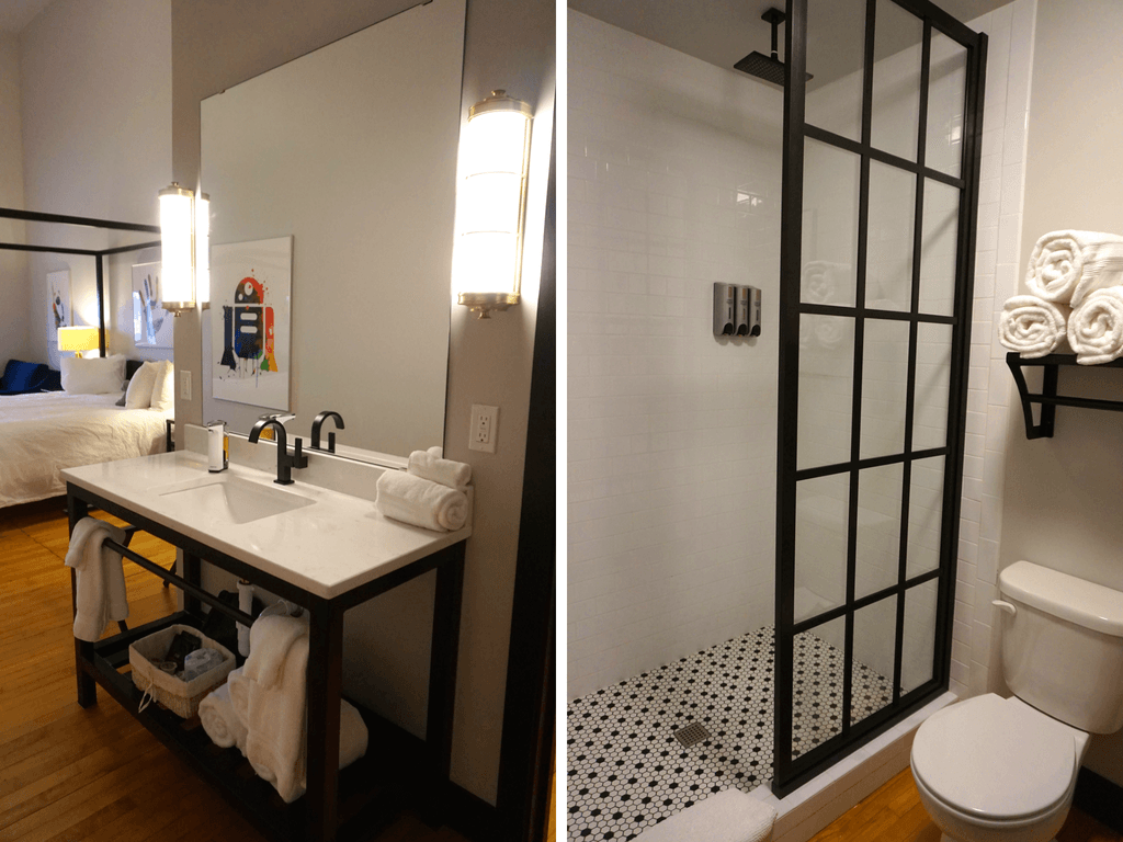 Loved the look of the bathroom in our room at the Hotel Grinell