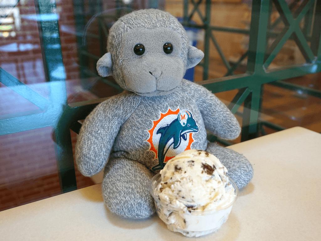 Buddy enjoying some ice cream at UNL Dairy Store